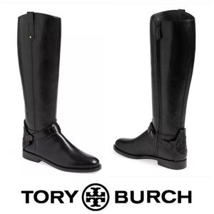 Tory Burch Black Derby Riding Boots Size 10